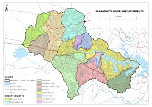 Sub-catchments of the Parramatta River catchment area